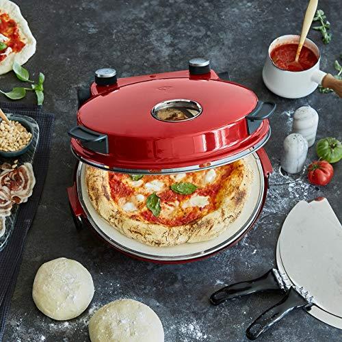 Forno per Pizza Peppo, Pizza Maker Elettrico a 350 °C con Timer e Spia di Cottura, incluse 2 Spatole grandi per Pizza - rosso