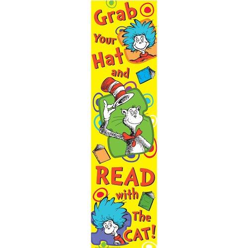 Eureka Dr. Seuss Cat in the Hat 'Grab Your Hat' Reading Nook Classroom classroom door poster, 12'' x 45''
