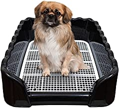 LYTIO Dog Training Indoor Black Potty Tray Small Puppy Toilet with Removable Post and Walls Security Frame Easy to Clean (Black)