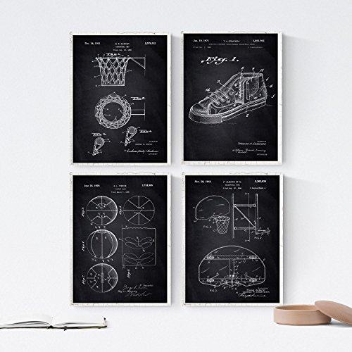Nacnic Negro - Pack de 4 láminas con Patentes de Baloncesto. Set de Posters con inventos y Patentes Antiguas. Elije el Color Que más te guste. Impreso en Papel de 250 Gramos