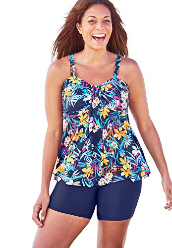 Swimsuits For All Women's Plus Size Flyaway Tankini Top with Bust Support - 34, Navy Tropical Garden