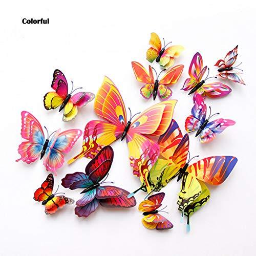 BNDJFNJEN Wandaufkleber 12 Stücke Doppelschicht 3D Schmetterling Wandaufkleber An Der Wand Wohnkultur Schmetterlinge Für Dekoration Magnet Kühlschrank Aufkleber
