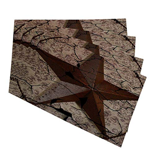 Mugod Placemats West Western Country Primitive Texas Star Saloon Decorative Heat Resistant Non-Slip Washable Place Mats for Kitchen Table Mats Set of 4 12