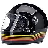 Biltwell Gringo S Casque intégral noir brillant noir Spectrum homologué ECE (Europe) & DOT (Amerique) Helmet Biker Custom Vintage Retro Année 70 Taille M