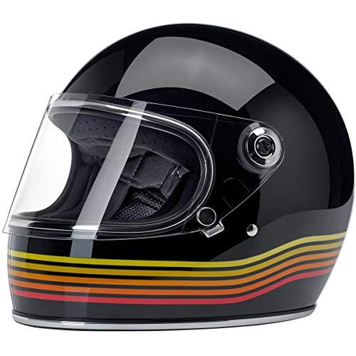 Casco integral Biltwell Gringo S negro brillante brillante negro Spectrum homologado doble homologación ECE (Europa) & DOT (America) Helmet Biker Custom Vintage Retro Año 70 Talla M