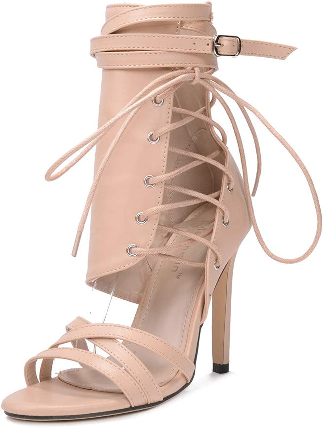 Womens High Heel, Strappy Stiletto Pumps Ankle Strap Open Toe Platform Party shoes Clubbing Heels,Beige,US5.5 EU36 UK3.5