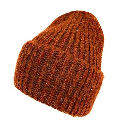 AOXUE Lana Berretto Cappello con Paillettes Cappello Lavorato a Maglia Cappello Invernale da Donna (Arancione Scuro)