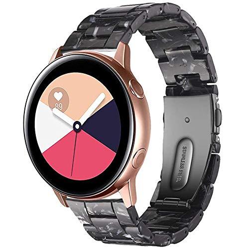 Miimall - Cinturino di ricambio per Samsung Galaxy Watch Active/Active 2 44 mm 40 mm/Galaxy Watch 3 41 mm, in resina da 20 mm, con fibbia in acciaio inox, 42 mm, colore: Nero