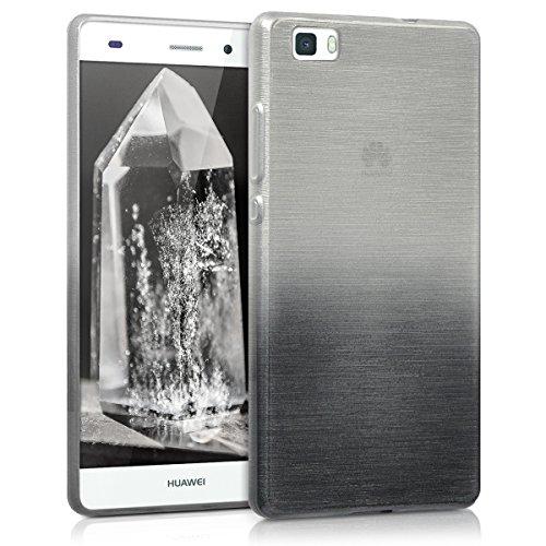 kwmobile Funda Compatible con Huawei P8 Lite (2015) - Carcasa de TPU Aluminio Degradado en Antracita/Plata