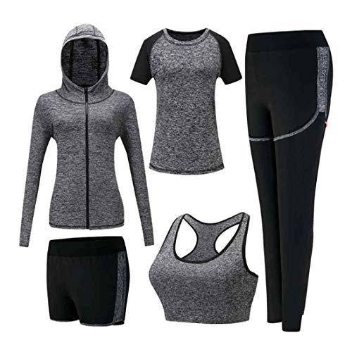 Inlefen Damen Trainingsanzug-Sets Sportanzug-Set weich Schnelltrocknend Laufen Joggen Gym Workout Trainingsanzug 5-teiliges Set Damen Sportbekleidung-Sets Yoga-Bekleidung Grau 2XL