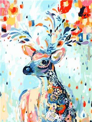 Pintura por números para Adultos DIY Pintura al óleo Kit con Pinceles y Pinturas para Niños Seniors Junior -Con Marco de Madera- Animales - Ciervo Colorido - Naturaleza - 40 x 50 cm - PBN26004