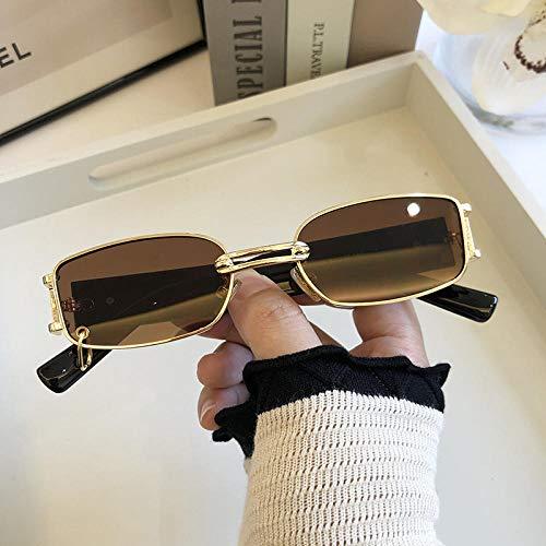 WQZYY&ASDCD Gafas de Sol Gafas De Sol Retro Europeas Y Americanas para Mujer Gafas De Sol De Moda Personalidad Masculina Fresca Metal Vintage Clear Glass-Gold_F_Tea