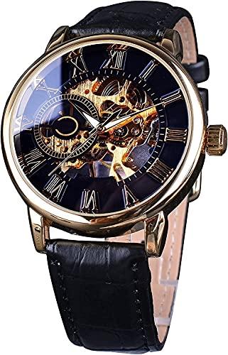 ZFAYFMA Reloj Retro de Lujo clásico Hombre de Cristal de Zafiro Rosa de Rosa Grabado Bisel Menú Mecánico Reloj Mecánico, Números Romanos Máquinas de Lujo de Lujo de la Marca Brown