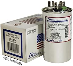 40 + 5 uf/Mfd Round Dual Universal Capacitor Replacement Amrad USA2235 Replacement - Used for 370 or 440 VAC, Made in The U.S.A.