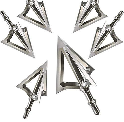 x RunFa 6 er 100 Grains Pfeilspitzen Jagdspitzen Armbrust Bogen Arrow Broadheads mit 3 Klingen aus 430 Edelstahl Schraubspitze Bogensport Bogenschiessen Bogenjagd