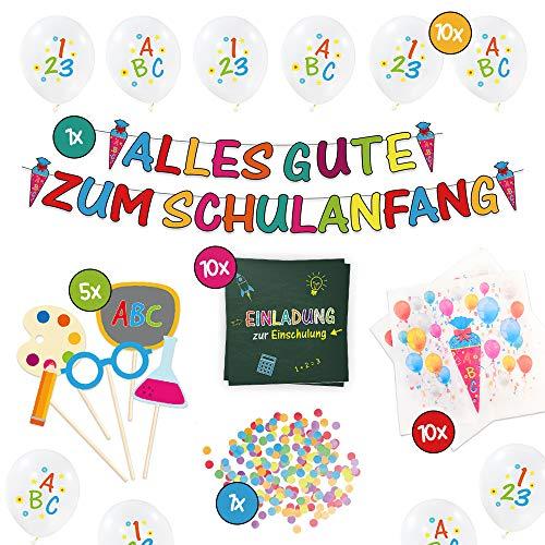 Casafilo XXL Deko Set zur Einschulung/Schulanfang/Erster Schultag für Jungs und Mädchen | Girlande + 10 Luftballons + 20 Servietten + 10 Einladungskarten + Foto-Requisiten-Set + Konfetti