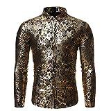 Herrenhemd Metal Wind Snake Pattern Nightclub Langärmliges Hot Stamping Fashion Large Size Loose Shirt Medium