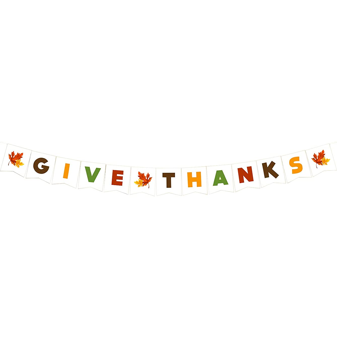 KatchOn Give Thanks White Cardstock Banner - No DIY Required, Sturdy   Great Thanksgiving Day Garland, Fall Autumn Themed Birthday Backdrop, Baby Bridal Shower, Home Office Décor, Outdoor