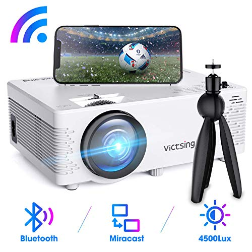 Mini Proyector, VicTsing ProyectorWiFi Bluetooth Soporta 1080P FullHD, Proyector Cine en Casa con Trípode, Compatible con Móvil Inalámbrico/ TV Stick/ HDMI/ USB/ PS4/VGA/AV (Cable HDMI/AV Incluido)