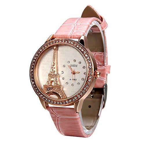 Avaner Rosa Reloj para Mujer La Torre Eiffel con Diamantes Reloj de Pulsera para Chica, Diseño Vintage Romantico Regalo Dia de la Madre