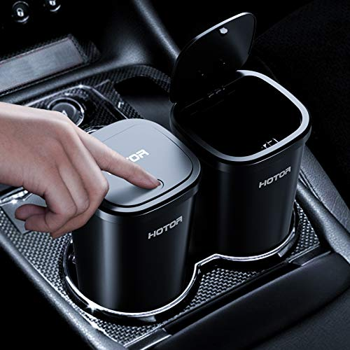HOTOR 2 Packs Car Trash Can, Car Trash Cup with 30 Additional Car Trash Bags for Exclusive Using, Multipurpose Trash Can for Car, Office & Home to Meet Various Needs