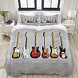 Funda nórdica, Fender Stratocaster Telecaster Bajo de precisión Mustang bass Fender Guitarra eléctrica Música, Juego de cama Juegos de funda de edredón de poliéster muy cómodos y ultra cómodos