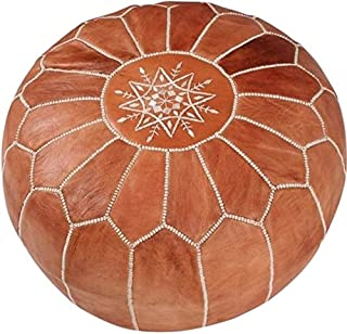 maisonmarrakech Handmade Leather Footstool Marrakech Tan Brown with White Stitching Unstuffed 23