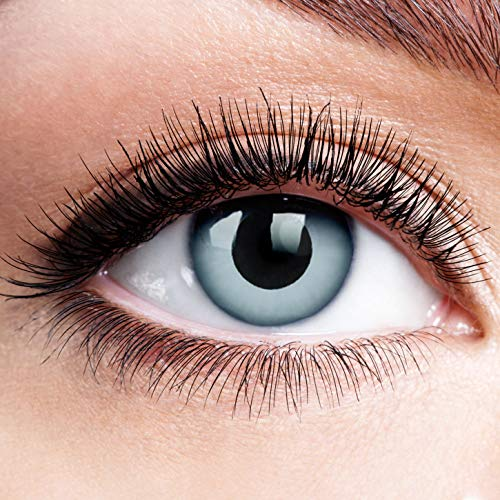 Farbige Kontaktlinsen ohne Stärke Zombie Grey Schwarz Grau Linsen Halloween Karneval Fasching Cosplay Schwarze Graue Augen Crazy Blind Eye Lunatic Vampir Wolf