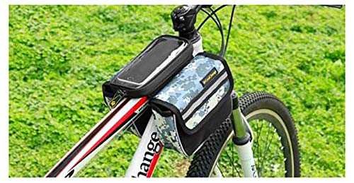 LJWLZFVT Bicycle Frame Bag,Waterproof Cell Phone Case Cycle Mount with Touch Screen Window,Bicycle Top Tube Pouch,Bike Frame Bag with Mobile Phone Holder-Camouflage 5.7 inches 17x13x15cm