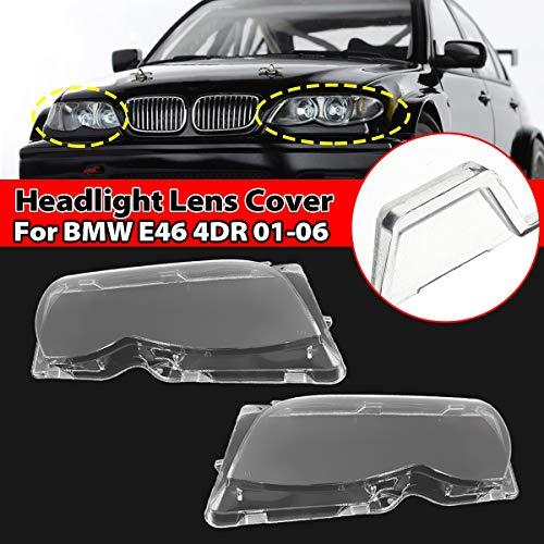 La linterna del coche cubiertas de lente cubierta de la cabeza de la lámpara for B-M-W E46 320i / 325i / 325xi 4DR Sedan 2001 2002 2003 2004 2005 2006 Izquierda / Derecha Side Cubierta de lente clara