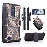Customerfirst Case for ZTE ZMAX Pro/ZTE Carry Z981/ Blade X Max Z983 Belt Clip Holster Heavy Duty Dual Layer Hybrid Camo Cover with Kickstand & Rugged Grip (CAMO)