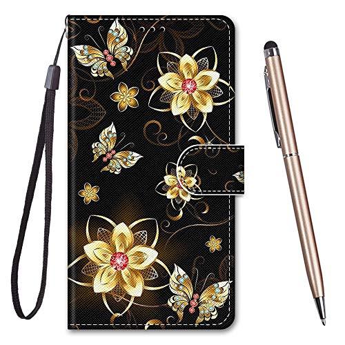 TOUCASA für Honor 8X Hülle, Handyhülle für Honor 8X,Premium Brieftasche PU Leder Flip [Kreativ Gemalt] Stoßfeste Case Handytasche Klapphülle für Huawei Honor 8X,Goldener Schmetterling