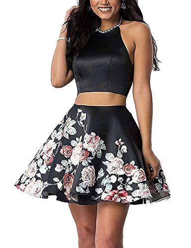 Women Floral 2 Piece Short Prom Homecoming Dresses 2021 for Juniors Teen Formal Gowns Size 14 Black