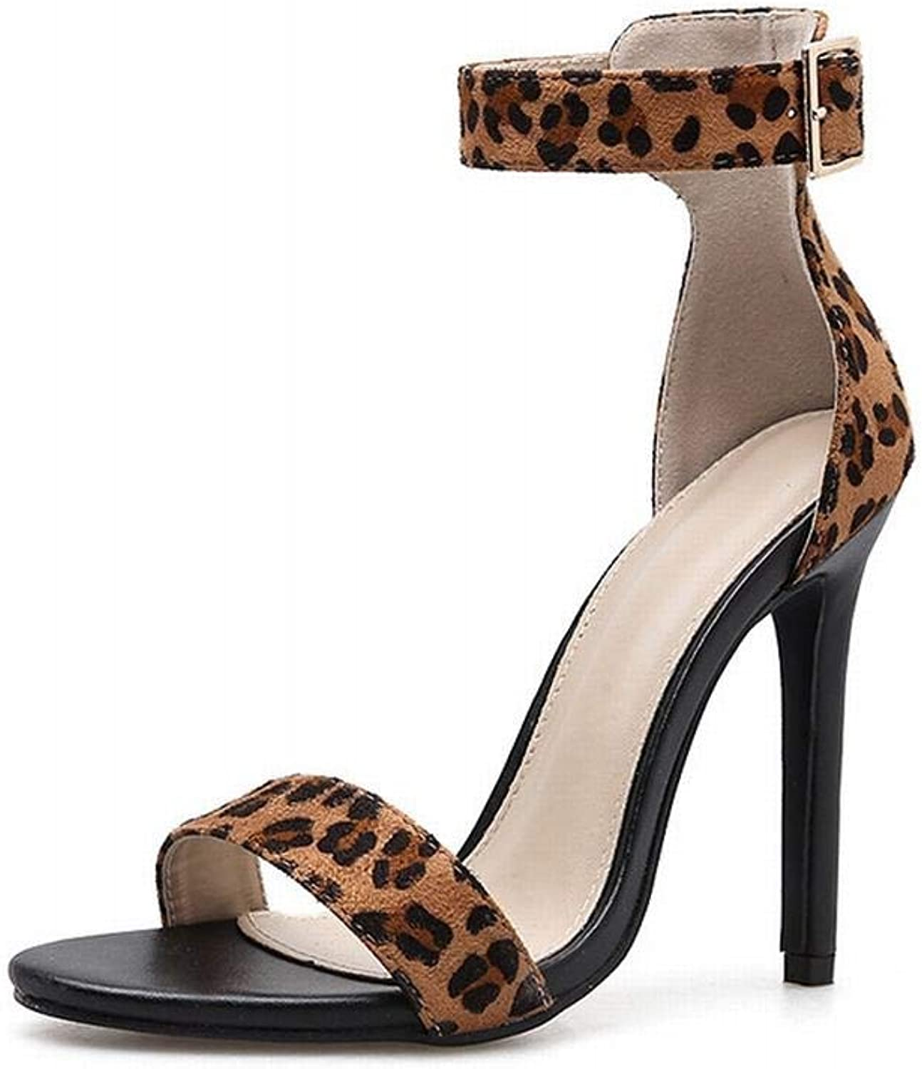 Sugoishop Women's High Heel Leopard Sexy High Heels Sandals Roman shoes