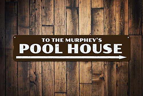 Pool huis teken, gepersonaliseerde pijl naar de familie zwembad teken, aangepaste familienaam teken, metalen patio zwembad Decor - kwaliteit aluminium zwembad huizen, metalen borden Tin Plaque Wall Art Poster 18