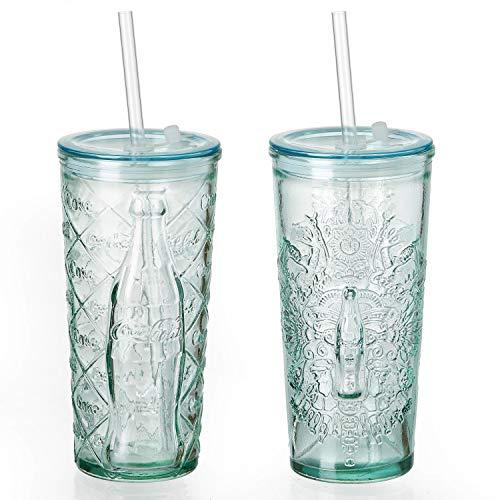 MamboCat 2-delige set Coca Cola beker to go 530ml l reliëf, wapen + ruit l drinkglas l deksel + rietje