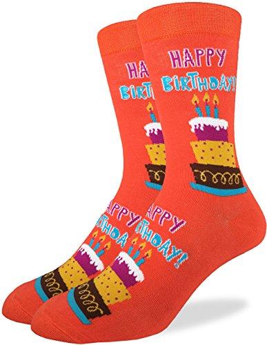 Good Luck Sock Mens Happy Birthday Crew Socks - Orange, Adult Shoe Size 7-12