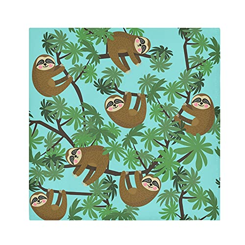 Cloth Napkins Sloth Tree Pattern Dinner Napkins Set of 4 Washable Reusable Table Napkins Satin Decorative Napkins for Holiday Dinners Wedding Cocktail Party, 20 x 20 Inch