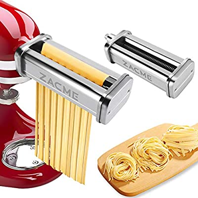 Pasta Maker Attachments for KitchenAid Stand Mixers, Stainless Steel 2-Piece Pasta Cutters Including Spaghetti Cutter, Fettuccine Cutter, Washable Noodle Maker Accessory with Cleaning Brush