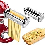 Accesorios para hacer pasta para batidoras KitchenAid de acero inoxidable, 2 piezas de cortadores de pasta incluyendo cortador de espagueti, cortador de fettuccine, accesorio lavable para hacer fideos...