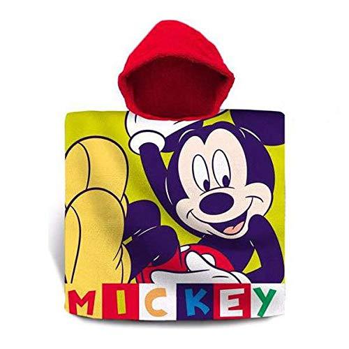 MICKEY MOUSE Poncho in cotone, Riferimento KD, telo da spiaggia per la casa, unisex, per adulti, multicolore, taglia unica