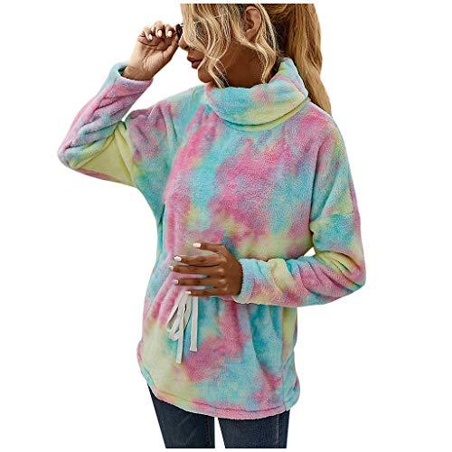 Womens Tie-dye Print Pullover Winter Fleece Long Sleeves Casual Keep Warm Tops Blouse E-Scenery Green
