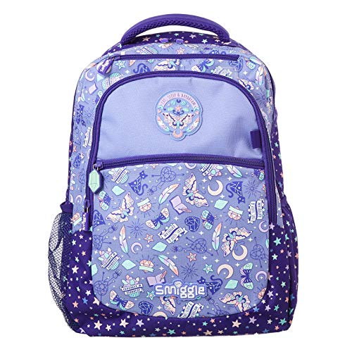 Smiggle Express Kids School Backpack for Boys & Girls with Laptop Compartment & Dual Drink Bottle Sleeves | Butterfly Print