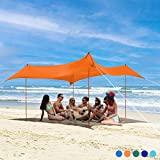 Bessport Tenda da spiaggia   Anti-UV UPF 50+   3 x 3 M Tendalino da spiaggia con 4 sacchi di sabbia e 4 pali in alluminio Adatto per spiaggia picnic cortile campeggio