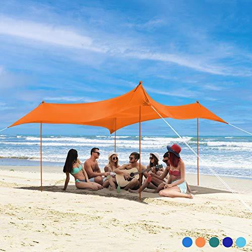 Bessport Tiendas de Playa Refugio de Playa con 4 Anclas de Arena, 4 Postes de Aluminio y 4 pilotes 3M x 3M  UPF50+ UV Protection  Adecuado para Playas picnics Parques Jardines Familiares