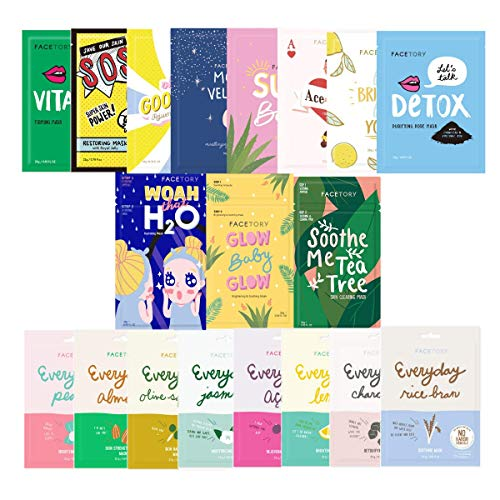 FaceTory 19 Facial Sheet Mask Collection- Hydrating, Moisturizing, Korean Sheet Mask- Skincare For...