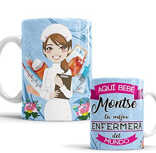Taza Aquí Bebe la Mejor Enfermera del Mundo/Taza aqui Bebe una Super Enfermera/Taza Personalizada con Nombre/Taza Regalo Original para Enfermera (Enfermera Azul)