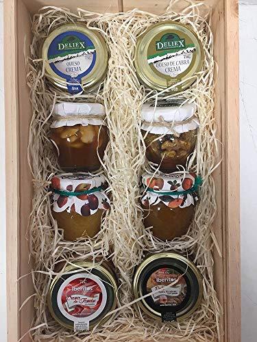 Cesta de navidad para empresa con surtido de mieles, patés de jamón y cremas de queso para untar de 110 g DEliex