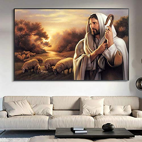 Pintura al óleo de la Oveja del Pastor de Jesús, Imagen Mural, Cartel de Pintura Decorativa Creativa para el hogar