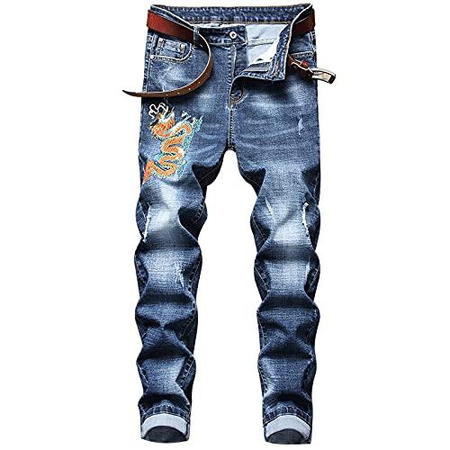 Astemdhj Vaqueros para Hombre Jeans Hombres Tide Brand Denim Trend Retro Jeans Stretch Fit Pants Regular...